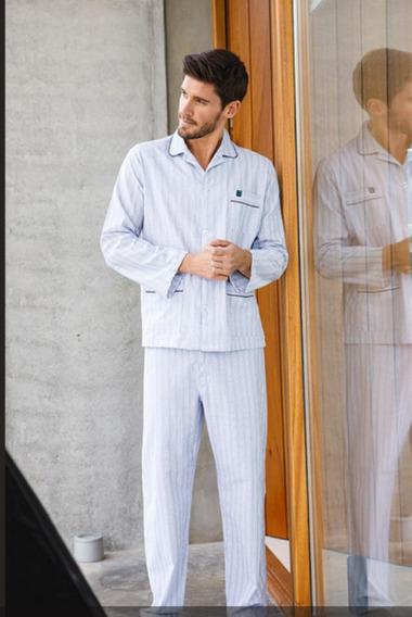Pijama Manga Larga Y Pantalon Largo Camisero Puro Algodon