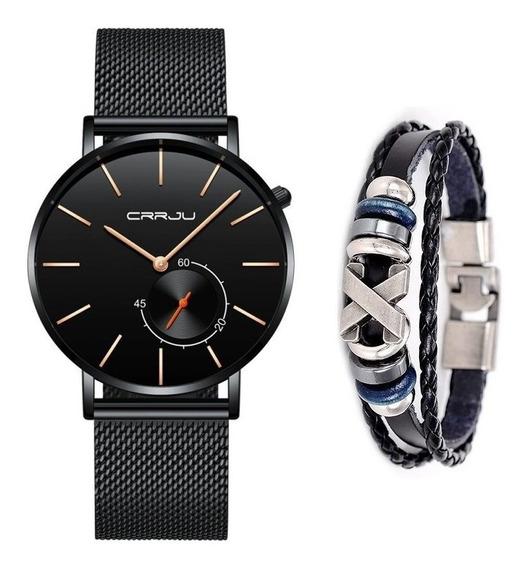 Relógio Masculino Casual Luxo Crrju Analógico + Pulseira