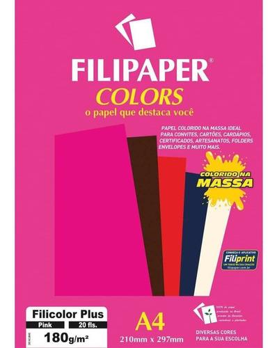 Imagem 1 de 3 de Papel A4 Color Filicolor Plus Pink 180g. Filipaper Cx.c/20