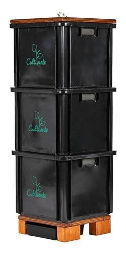 Compostera 3 Cajones Plástico Reciclado Negra (caba)