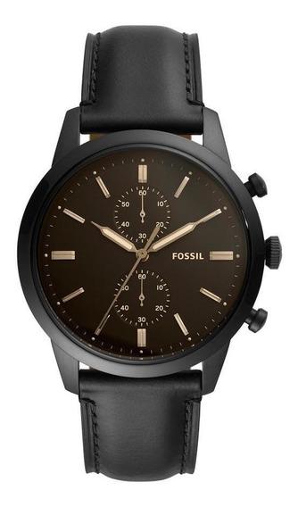 Relógio Masculino Fossil Fs5585/0pn 44mm Couro Preto