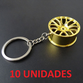Kit 10 Chaveiros Roda Esportiva Dourada Excelente Acabamento