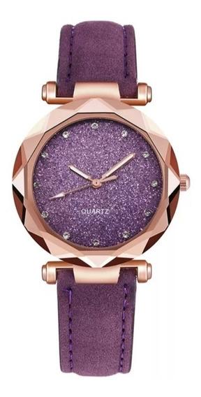 Relógio Feminino P Delicado Gliter Estrela Roxo Rosa Preto#