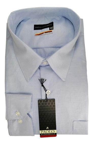 Camisa 2xl A 4 Xl Extragrande Tela Azul Cielo Algodón Suave
