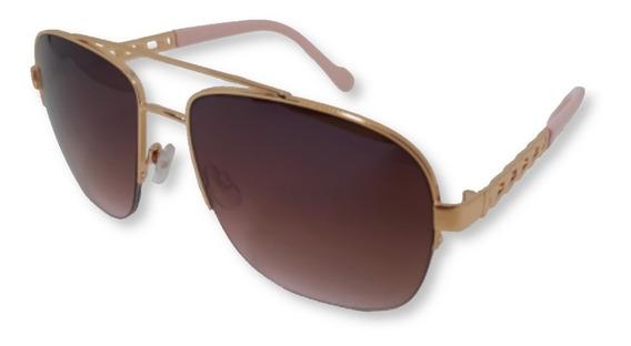 Óculos De Sol Feminino Tipo Aviador Degradê Nude