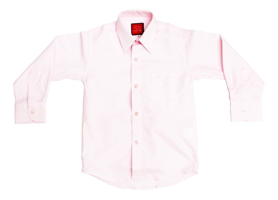 Camisa Manga Larga Vestir Oscar Rosa Pastel Tirantes Y Moño
