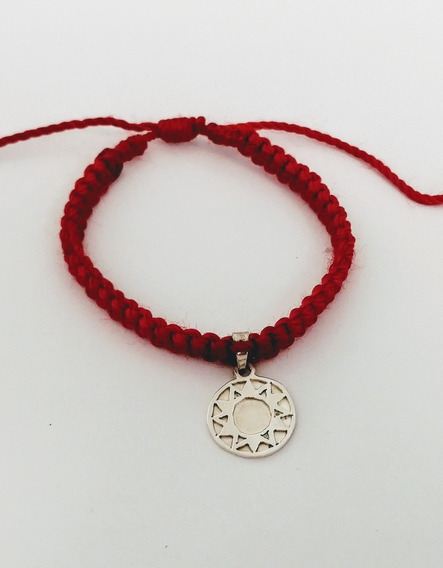 Pulsera Roja Con Estrella De 12 Puntas Plata Ley 925