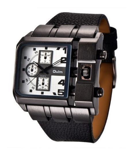 Relógio Masculino Rustico Oulm Couro Aço Inoxidável Preto !