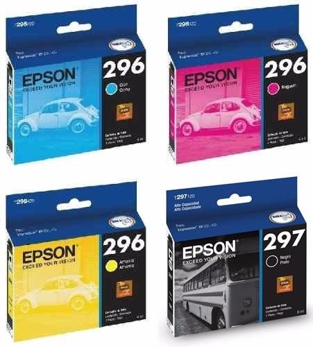 Cartucho Epson T297 297 Bk + T296 296 Cyan Magenta Amarillo