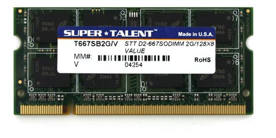 Memoria Ram 2gb Ddr2 667mhz Pc2-5300 Sodimm Super Talent