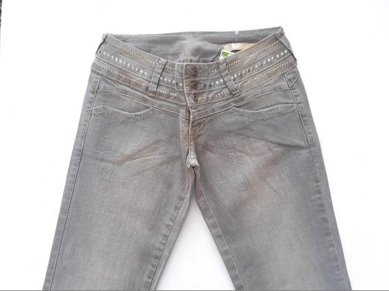 Calça Jeans Feminina C/ Taxas Na Cintura Mgf
