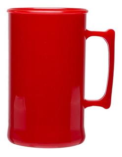 Caneca De Chopp Acrílica 300 Ml Vermelha Caixa Com 100 Unid
