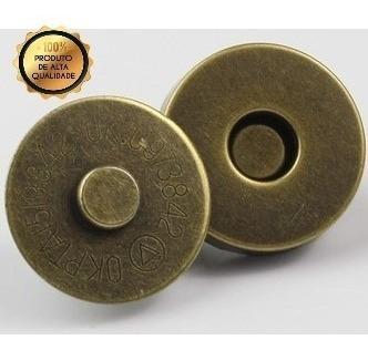 100 Botões Magnéticos Ouro Velho Fexo Para Bolsas 18mm