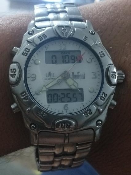 Relógio Antigo Dumont Civic 100m Ra10056 Funcionando Perfeit