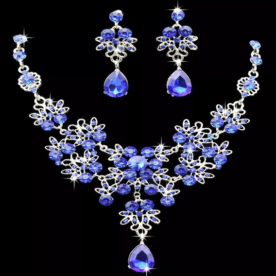 Delicado Conjunto Colar E Brinco Prateado Strass Azu Royal Luxo Joias Bijuteria Bijou Festa Debutante Noiva Casamento