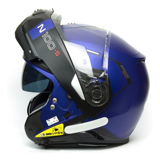 Capacete Nolan N100 Consistency Azul Fosco Escamoteável C/ Viseira Solar + Pinlock Anti-embaçante E Touca Balaclava