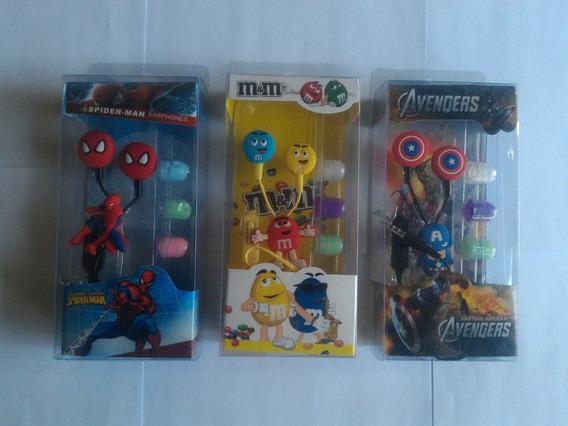 Audifonos Manos Libre Cap America Spider Man M&m Emoticones