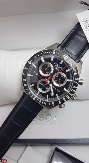 Relógio Tissot Prs516 To44417 Preto Couro Completo Na Caixa