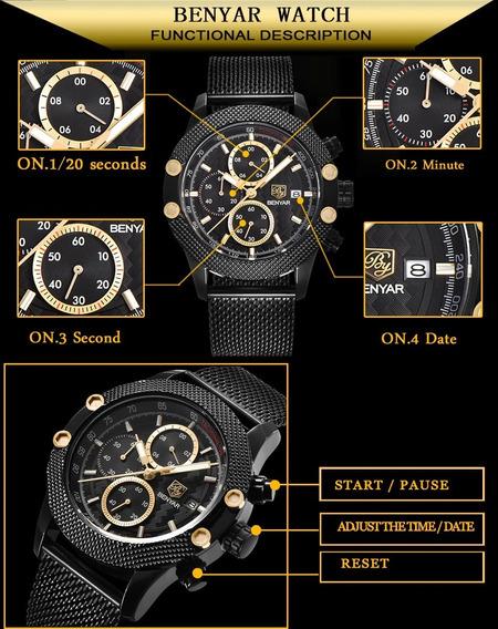 Relógio Masculino Cronógrafo Malha De Aço Preto