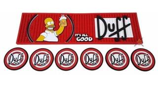 Kit Bar Mat Duff + 6 Porta Copos Pub Decoração