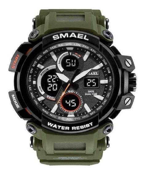 Relógio Militar Smael Analógico Digital Camuflado Gamo A