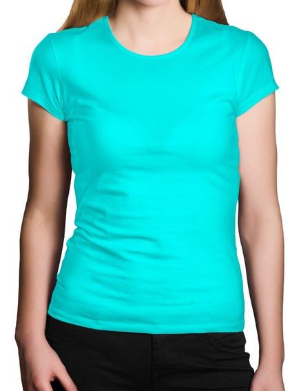 Camiseta Lisa 100% Poliéster Feminina Colorida Promoção