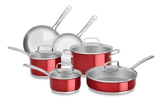 Bateria De Cocina 10 Piezas Acero Inoxidable Kitchenaid