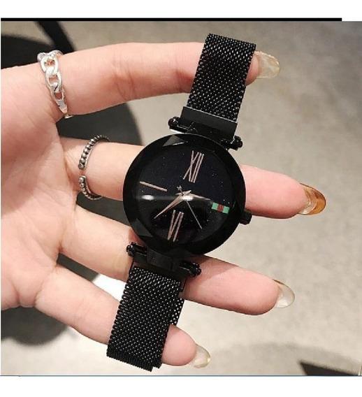 Relógio Feminino Luxo Céu Estrelado Fecho De Imã- Preto