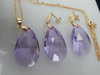 Conjunto Cristal Swarovski Gota Violet Folheado A Ouro 18k