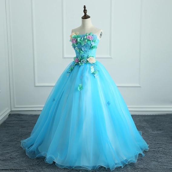 Vestido Quinceañera Barato Bonito Hermoso Bordado Flores