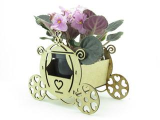 10 Cachepôs Carruagem Princesas 15cm Violeta Lembrancinhas