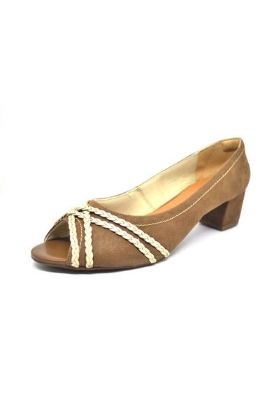 Sapatos Femininos Peep Toe Nobuck Café Dani K