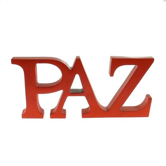 Placa Decorativa Letreiro Paz Resina 12x25x2cm Cor Vermelho