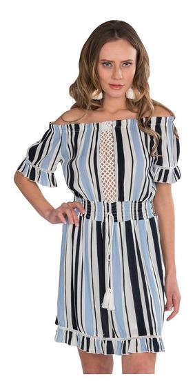 Vestidos Casuales Mujer Sin Hombros Rayado Azul S91201