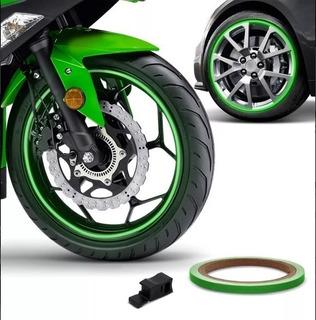 Friso Faixa Adesivo Refletivo Roda Moto Carro Verde 1005