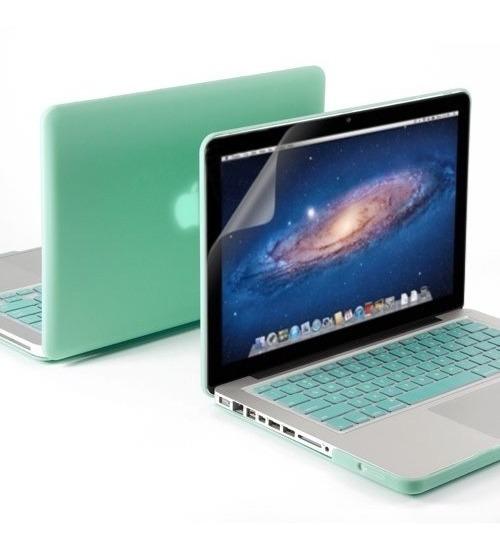 Kit 3x1 Capa Case Protetor Tela Teclado Azul Macbook Pro 15