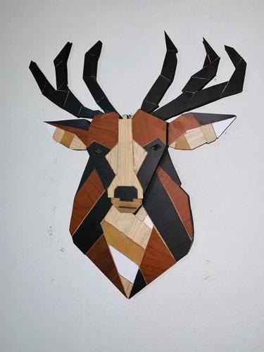 Imagen 1 de 3 de Cuadro Ciervo De Madera Estilo Nórdico Xl Gran Tamaño