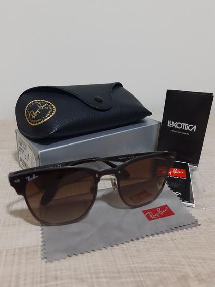 Óculos Ray-ban Blaze Clubmaster Cor Marrom Degradê Rb3576n