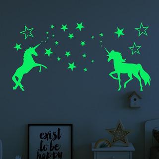 Calcomania Sticker 2 Unicornios Pegatina Brilla Oscuridad
