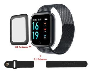 Smart Watch P70 Relógio Inteligente Monitor Cardíaco Passo 2 Pulseira + Película