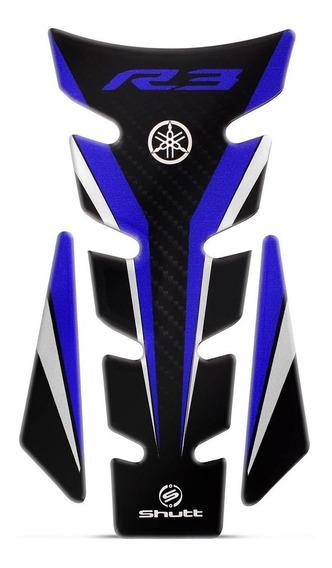 Protetor De Tanque Shutt Tank Pad Yamanha R3 Carbono Azul