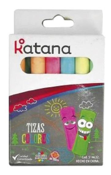 Tiza Color Katana Caja X 12 Unidades No Toxica Escolar 8 Cm