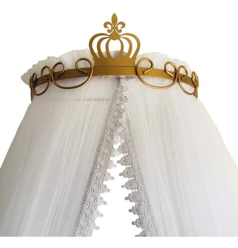 Imagem 1 de 8 de Dossel Parede Coroa Dourado Com Mosquiteiro Renda Guipir
