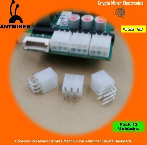 Pack 12 Unid. Conector Pci Molex Hembra Macho 6 Pin Antminer