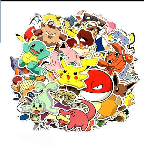 Pokemon 80 Calcomanias Stickers Pvc Contra Agua Pikachu