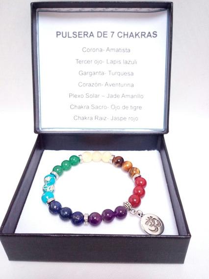 Pulsera 7 Chakras Cuarzo Natural Meditacion Yoga- Simbolo Om