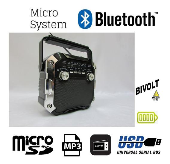 System Mp3 Bluetooth Usb Am Fm Bat Recarregável Bi Volt