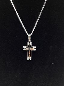 Kit Corrente Prata Masculino Com Pingente Crucifixo Banhado