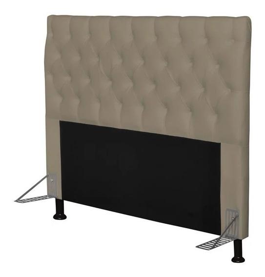 Cabeceira de cama box JS Móveis Cristal Casal 140cm x 126cm Couro sintético areia