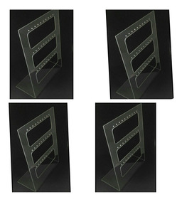 4 Porta Brinco Vazado Expositor Transparente 26,5cm X 22cm